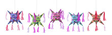 3D Rendering, Illustration Of A Mexican Pinata Painted Like A Traditional Alebrije Isolated On White.