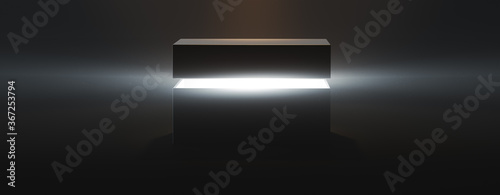 Obraz na plátně mysterious pandora box opening with rays of light, high contrast image, ( 3D Ren