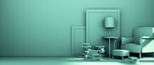 A Green Room With An Armchair, Frames, A Lamp And Books. 3d Render
