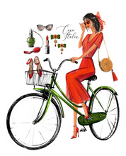 Italian Donna On Bicycle. Fashion Girl Sketch In Digital Watercolor Style. Young Woman And Fashion Accessories.