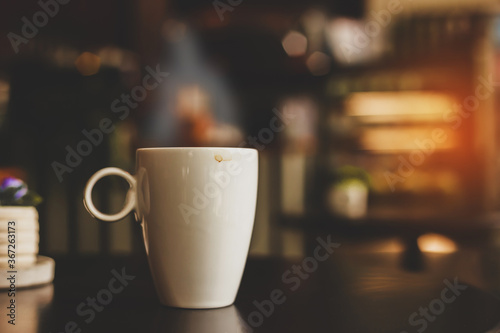 Papel de parede Hot drink Hot coffee cappuccino And space to put text in the blue abstract style
