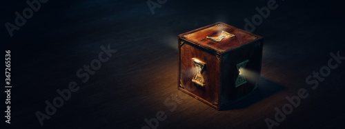 (3D Rendering, Illustration) Mysterious locked box with keyholes on a dark backg Canvas-taulu