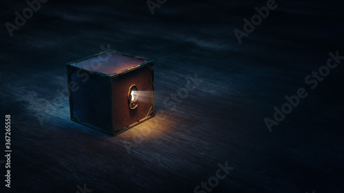 (3D Rendering, Illustration) Mysterious locked box with light coming through its Fototapet