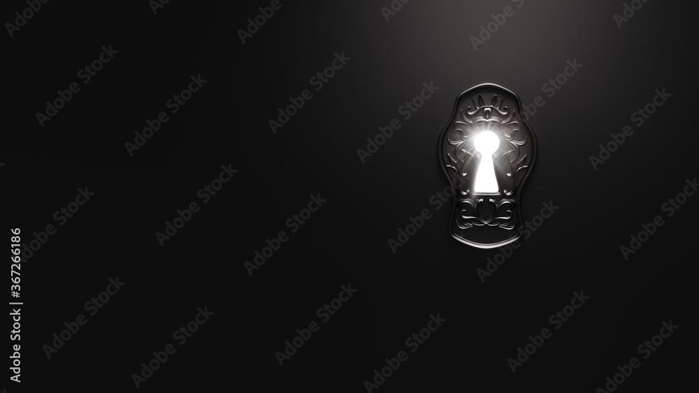 Fototapeta  ( 3D Rendering, illustration ) light shining through a mysterious keyhole