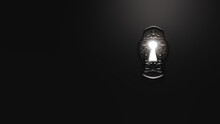 ( 3D Rendering, Illustration ) Light Shining Through A Mysterious Keyhole