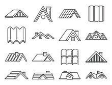 House Roof Icons Set. Outline Set Of House Roof Vector Icons For Web Design Isolated On White Background