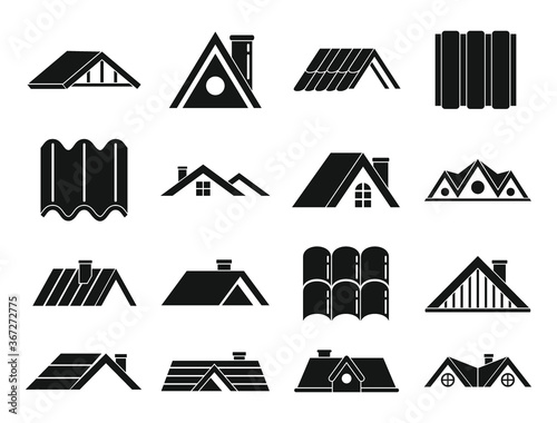 Roof icons set Canvas Print
