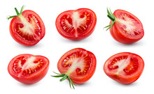 Tomatoes Slice Isolated. Tomato Half On White. Tomato With Clipping Path. Tomato Set.