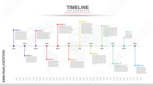 Obraz Year planner, 12 months, 1 year, Timeline infographics design vector and Presentation business can be used for Business concept with 12 options, steps or processes, goal - fototapety do salonu