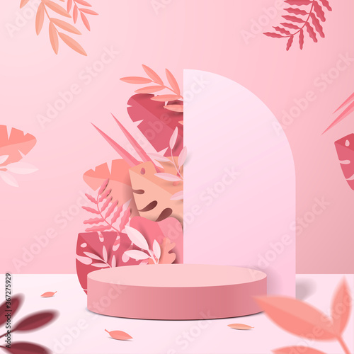 Obraz Abstract minimal scene with geometric forms. cylinder podium display or showcase mockup for product in pink background with paper leaves. - fototapety do salonu