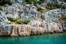 Ruins Of The Ancient Sunken Lycian Underwater City Of Dolichiste On The Island Of Kekova. Attraction Of The Mediterranean Sea Under Water. Sea Tour Near Demre And Semena. Antalya Province, Turkey.