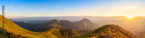 Obraz Colorful sunrise landscape in the mountains, scenic wild nature panorama at the dawn, Carpathians - fototapety do salonu