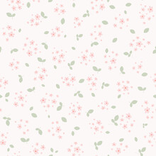 Vector Seamless Pattern With Small Pink Pretty Flowers And Green Leaves On White Backdrop. Liberty Style Millefleurs. Simple Floral Background. Elegant Ditsy Ornament. Cute Repeat Design For Decor