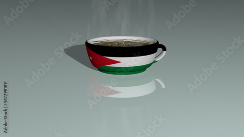 Photo JORDAN placed on a cup of hot coffee in a 3D illustration mirrored on the floor