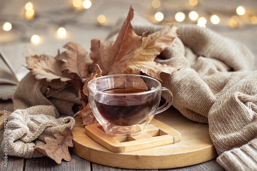 Fototapeta Cozy autumn still life in a homely atmosphere.