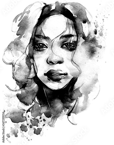 Fototapety, obrazy: Beautiful African woman portrait in watercolor with splatter