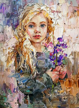 Cute Little Blonde Hair Girl Holding A Bluebells Flowers In Her Hands. Created In The Expressive Manner. Palette Knife Technique Of Oil Painting And Brush.