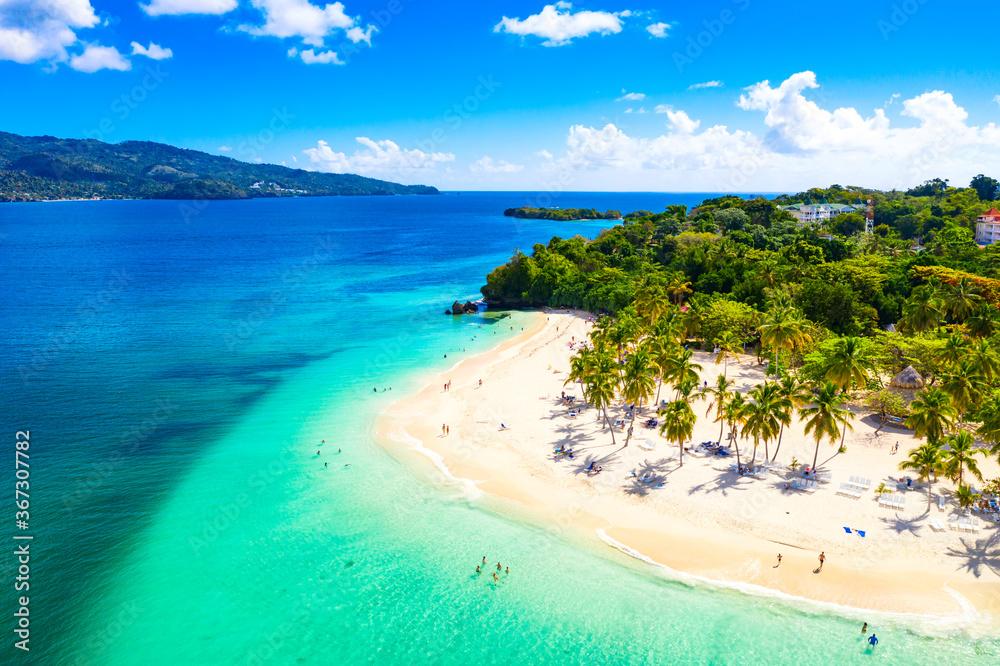 Fototapeta Aerial drone view of beautiful caribbean tropical island Cayo Levantado beach with palms. Bacardi Island, Dominican Republic. Vacation background.
