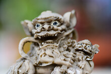 Old Chinese Lion Statuette In ...