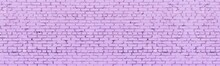 Bright Lavender Color Painted Shabby Old Brick Wall Wide Texture. Light Pastel Purple Rough Brickwork Widescreen Background