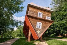 Upside Down House Attraction. The Tourist Complex Of Dukora, Belarus