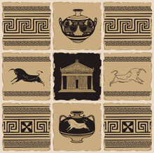 Ancient Greek Banner In The Fo...
