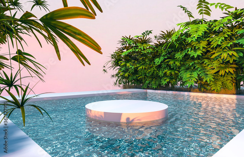 Abstract 3d scene with a cylinder podium backdrop in garden and water view.