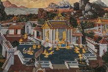 Ancient Thai Painting Ramayana Story. Traditional Thai Art Of Painting On Ancient Wall Of Thai Temple. Public Property In Wat Phra Kaew, Temple Of The Emerald Buddha, Bangkok,Thailand.
