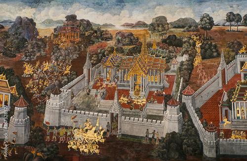 Fototapeta Ancient thai painting Ramayana story