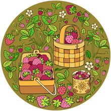 Strawberries In Baskets Cartoon Illustration
