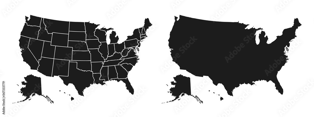 Fototapeta United States of America map. USA map with and without states isolated – stock vector