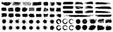 Set different black splash, collection brush strokes – stock vector