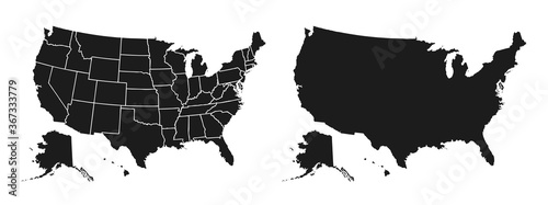 United States of America map. USA map with and without states isolated – stock vector