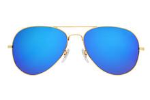 Blue Aviator Sunglasses With G...
