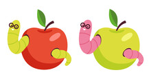 Set Of Red And Green Apples Wi...