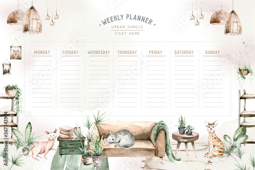 Obraz Watercolor trendy interior bohemian weekly planner with mid century modern furniture. Interior hugge Decor Scene. Cozy living room with houseplant, Urbun jungle Watercolor illustration.  Stay at home - fototapety do salonu
