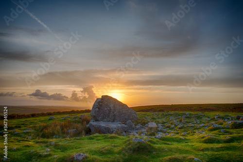 Arthur's Stone ( Maen Ceti), Gower, Wales, UK at sunrise. Canvas Print