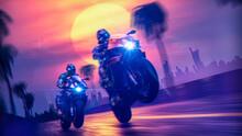 Cyberpunk Biker On A Retrowave...