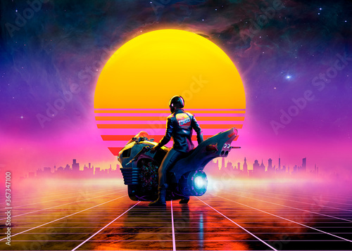 Retrowave biker on a futuristic motorbike on a virtual landscape in the sunset - concept art - 3D rendering