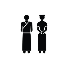 China Style Man And Woman Icon Isolated On White Background, Toilet Sign.