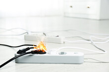 Inflamed Plug In Power Board - Result Of Electrical Short Circuit