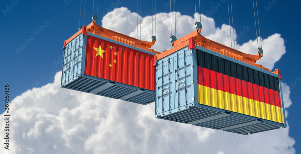 Fototapeta Freight containers with German and China flag. 3D Rendering