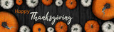 Fototapeta Kawa jest smaczna - Happy Thanksgiving banner background panorama - Autumn Holiday Harvest still life, Set of various pumpkins on dark wooden table background. Autumn vegetables and seasonal decoration, top view