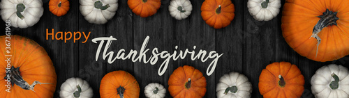 Happy Thanksgiving banner background panorama - Autumn Holiday Harvest still life, Set of various pumpkins on dark wooden table background Canvas