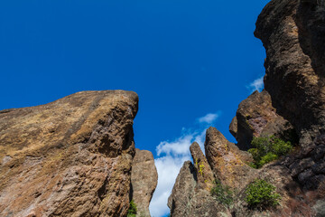The Flow-Banded Rhyolite Balconies Formations  on The Tunnel Trail, Pinnacles National Monument, California, USA