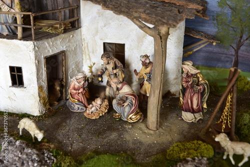Cuadros en Lienzo Krippe, Weihnachtskrippe, Geburt, Weihnachten, Jesus, Christen, Religion, Maria