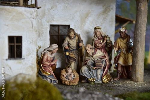 Krippe, Weihnachtskrippe, Geburt, Weihnachten, Jesus, Christen, Religion, Maria Fototapete