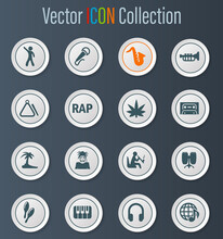 Rap Music Icons Set