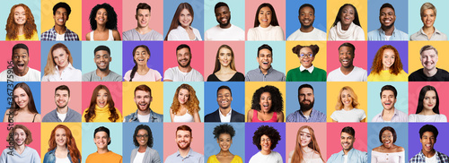 Fotografia Collage Of Smiling People Faces On Bright Colored Backgrounds, Panorama