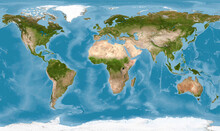 World Map In Satellite Photo, ...